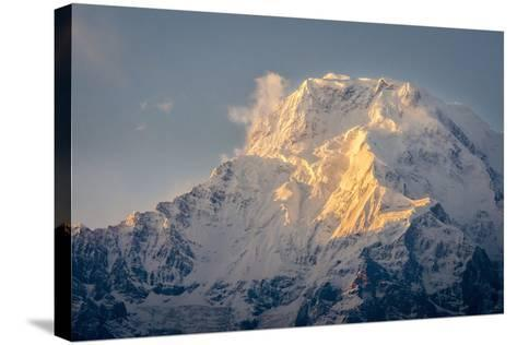The Evening Sun on Annapurna South, 7219M, Annapurna Conservation Area, Nepal, Himalayas, Asia-Andrew Taylor-Stretched Canvas Print