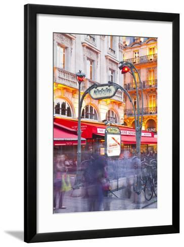 Crowds of People Rushing Through the Entrance to a Metro Station in Paris, France, Europe-Julian Elliott-Framed Art Print