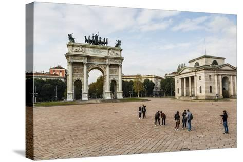 The Arch of Peace (Arco Della Pace), Sempione Park, Milan, Lombardy, Italy, Europe-Yadid Levy-Stretched Canvas Print