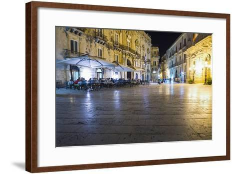 Tourists Eating at a Restaurant in Piazza Duomo at Night-Matthew Williams-Ellis-Framed Art Print