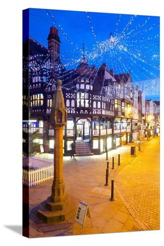 East Gate Street at Christmas, Chester, Cheshire, England, United Kingdom, Europe-Frank Fell-Stretched Canvas Print