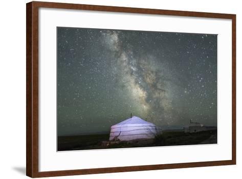The Milky Way Rises over a Mongolian Ger in South Gobi Desert, Mongolia-Ira Block-Framed Art Print