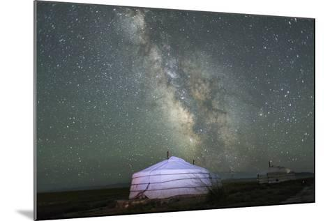 The Milky Way Rises over a Mongolian Ger in South Gobi Desert, Mongolia-Ira Block-Mounted Photographic Print