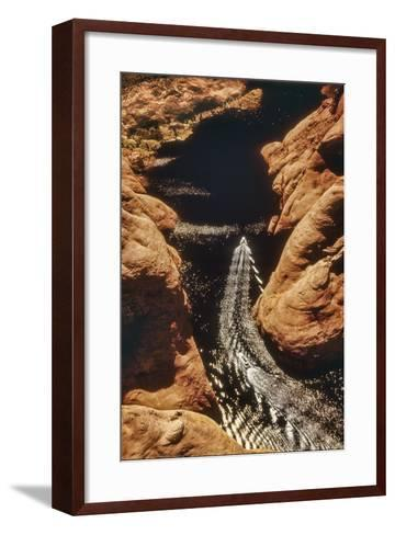 A Boat in Side Canyon, Lake Powell, Utah-David Hiser-Framed Art Print