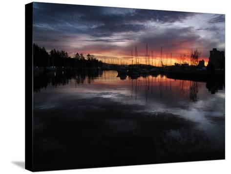 The Sun Rises over English Bay as Seen from Stanley Park, Vancouver, Canada-Kim Ludbrook-Stretched Canvas Print