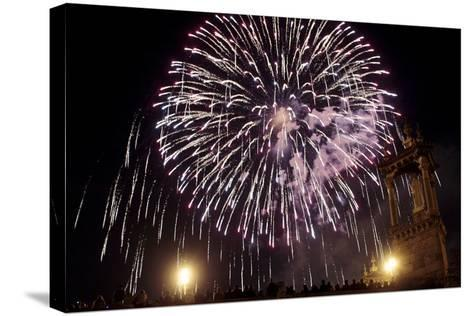 People Enjoy the Fireworks During the 'Nit Del Foc'-Kai Forsterling-Stretched Canvas Print