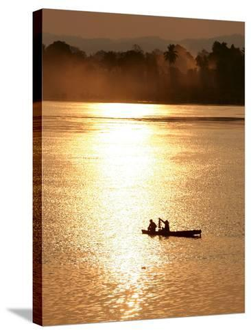 Fishermen in the Mekong River in Laos-Barbara Walton-Stretched Canvas Print
