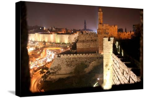 View of Old City Walls in Jerusalem with Tower of David with Night Lighting-Yossi Zamir-Stretched Canvas Print