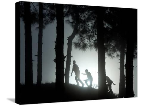 People Walk Through the Jungle in Mist-Narendra Shrestha-Stretched Canvas Print