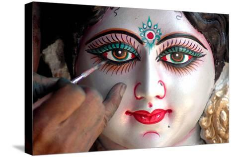 Final Touches to an Idol of Hindu Goddess Durga Ahead of the Nine Days Long Navratri Festival-Sanjeev Gupta-Stretched Canvas Print