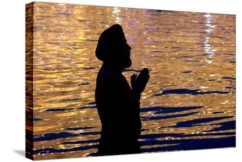 A Sikh Devotee Prays-Raminder Pal Singh-Stretched Canvas Print