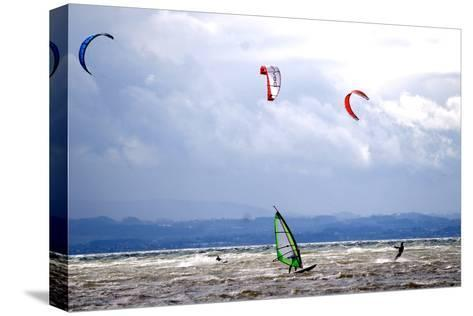 Wind and Kite Surfer Use the Trough of Low Pressure 'Emma' at the Lake Constance-Dietmar Stiplovsek-Stretched Canvas Print