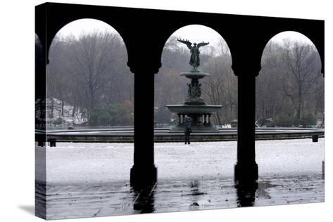 Freezing Rain and Snow in New York City-Peter Foley-Stretched Canvas Print