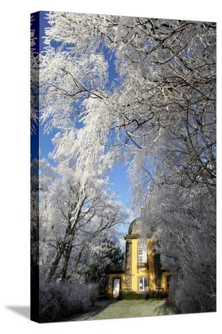 Pavillion in Winter Scenery-Peter Steffen-Stretched Canvas Print