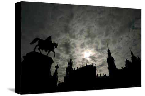 Silhouette of Historic Dresden-Ralf Hirschberger-Stretched Canvas Print