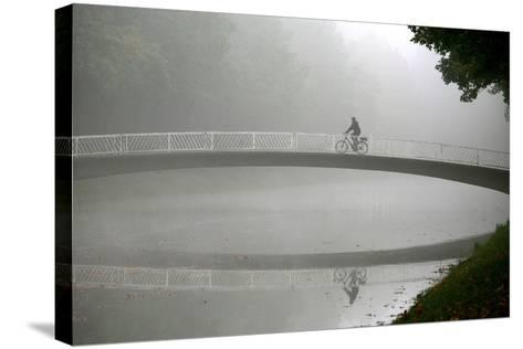 A Cyclists Rides His Bike over a Bridge at the Karlsaue Park in Kassel, Germany-Uwe Zucchi-Stretched Canvas Print
