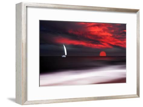 White Sailboat and Red Sunset-Philippe Sainte-Laudy-Framed Art Print