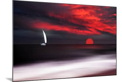 White sailboat and red sunset-Philippe Sainte-Laudy-Mounted Photographic Print