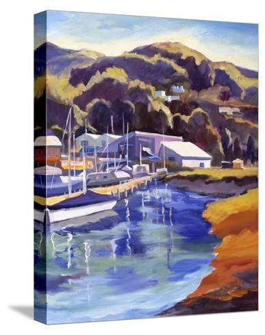 Blue Boat-Kay Carlson-Stretched Canvas Print