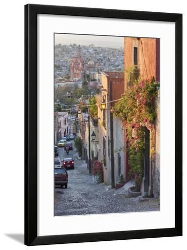 Mexico, San Miguel de Allende. Street scene with overview of city.-Don Paulson-Framed Art Print