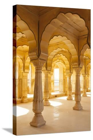 Colonnaded gallery, Amber Fort, Jaipur, Rajasthan, India.-Inger Hogstrom-Stretched Canvas Print