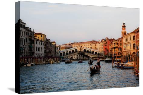 Italy, Venice, Grand Canal with View of Rialto Bridge.-Terry Eggers-Stretched Canvas Print