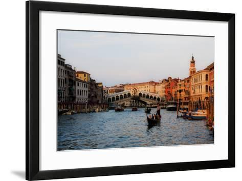 Italy, Venice, Grand Canal with View of Rialto Bridge.-Terry Eggers-Framed Art Print