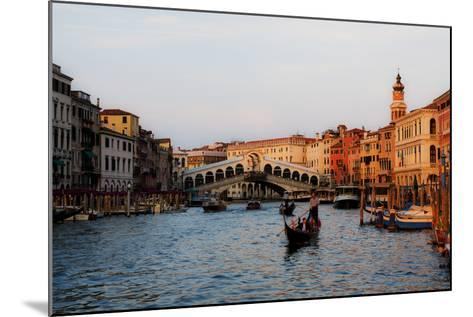 Italy, Venice, Grand Canal with View of Rialto Bridge.-Terry Eggers-Mounted Photographic Print