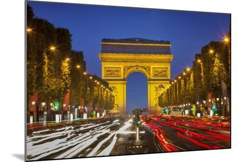 Twilight along Champs Elysee with Arc de Triomphe, Paris, France.-Brian Jannsen-Mounted Photographic Print