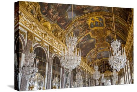 The Hall of Mirrors, Chateau de Versailles, France.-Brian Jannsen-Stretched Canvas Print