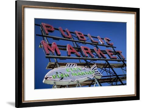 Pike Place Market sign near the waterfront, Seattle, Washington, USA-Brian Jannsen-Framed Art Print