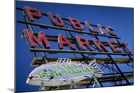 Pike Place Market sign near the waterfront, Seattle, Washington, USA-Brian Jannsen-Mounted Photographic Print