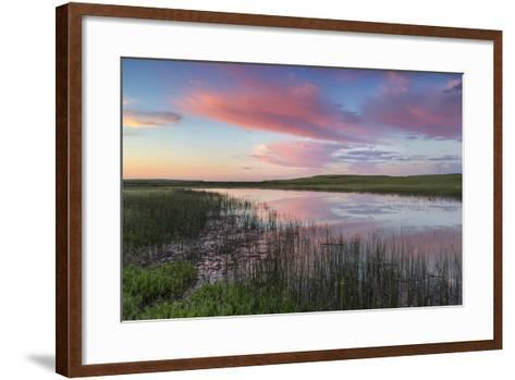Prairie pond at sunrise in Garfield County near Jordan, Montana, USA-Chuck Haney-Framed Art Print