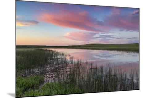 Prairie pond at sunrise in Garfield County near Jordan, Montana, USA-Chuck Haney-Mounted Photographic Print