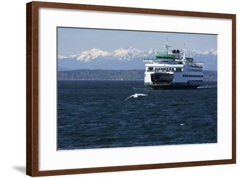 Ferry approaching Colman Dock on Elliott Bay, Seattle, Washington, USA-Jamie & Judy Wild-Framed Art Print
