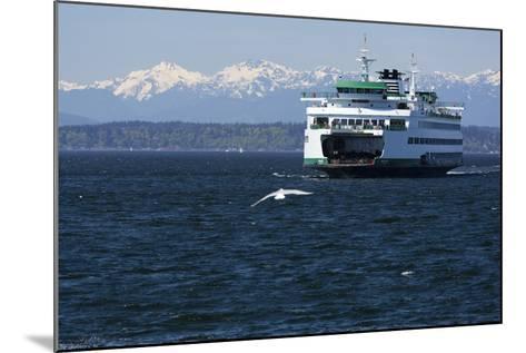 Ferry approaching Colman Dock on Elliott Bay, Seattle, Washington, USA-Jamie & Judy Wild-Mounted Photographic Print
