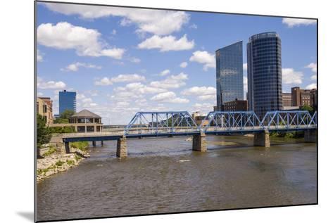 Pedestrian bridge and downtown skyline, Grand Rapids, Michigan, USA-Randa Bishop-Mounted Photographic Print