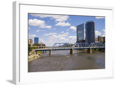 Pedestrian bridge and downtown skyline, Grand Rapids, Michigan, USA-Randa Bishop-Framed Art Print