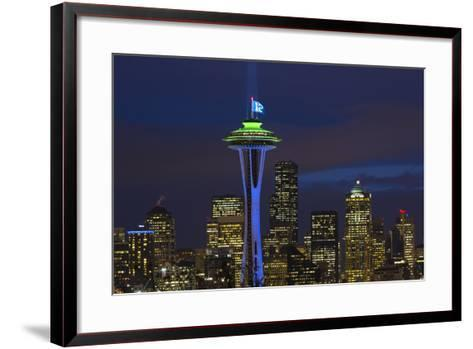 Space Needle with Seahawk colors and 12th man flag. Washington, USA-Jamie & Judy Wild-Framed Art Print
