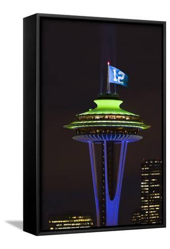 Space Needle with Seahawk colors and 12th man flag. Washington, USA-Jamie & Judy Wild-Framed Canvas Print