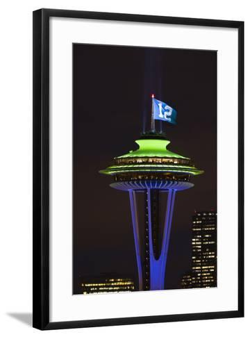 Space Needle with Seahawk colors and 12th man flag. Washington, USA-Jamie & Judy Wild-Framed Art Print