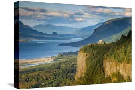 Overlooking the Vista House and the Columbia River Gorge, Oregon, USA-Brian Jannsen-Stretched Canvas Print