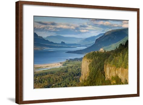 Overlooking the Vista House and the Columbia River Gorge, Oregon, USA-Brian Jannsen-Framed Art Print