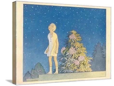 Little Girl Looking at Stars--Stretched Canvas Print