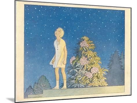 Little Girl Looking at Stars--Mounted Art Print