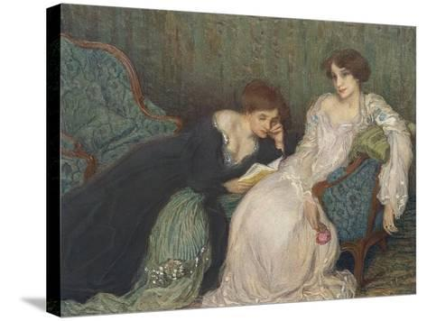 Women Reading on Day Bed--Stretched Canvas Print