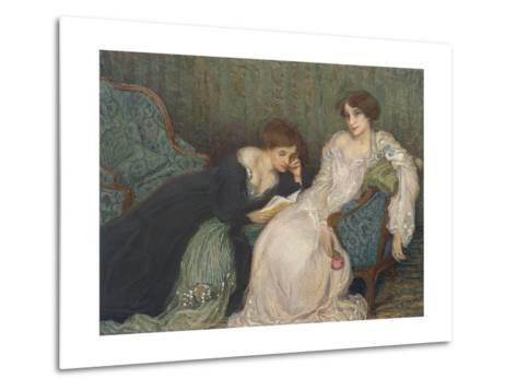 Women Reading on Day Bed--Metal Print