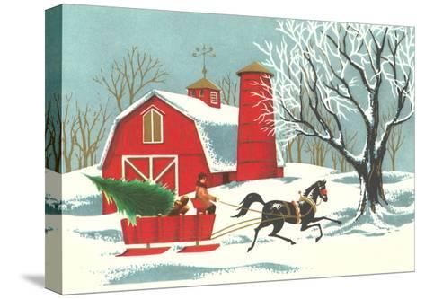 Barn, Horse-Drawn Sleigh--Stretched Canvas Print