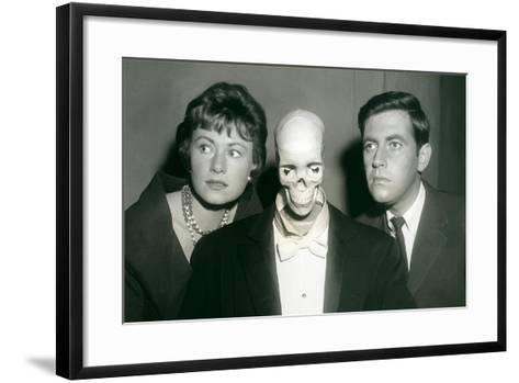 Couple with Skeleton in Suit--Framed Art Print