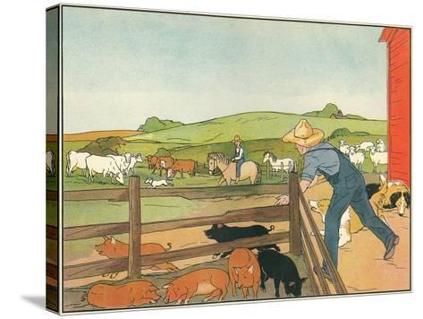 Barnyard Scene--Stretched Canvas Print